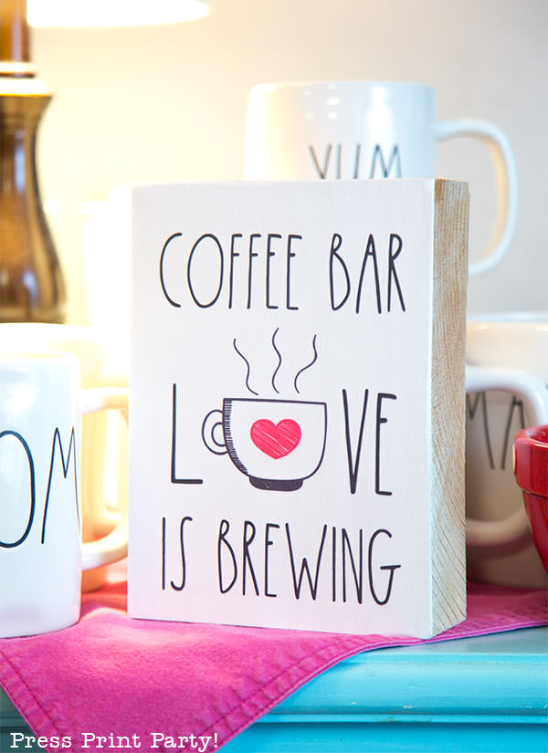 farmhouse style Rae Dunn inspired wooden coffee bar sign and mom mug - Love is brewing - Press Print Party!