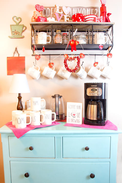 Rae Dunn inspired wooden coffee bar with blue dresser and wooden sign and mom mugs - Love is brewing - Press Print Party!