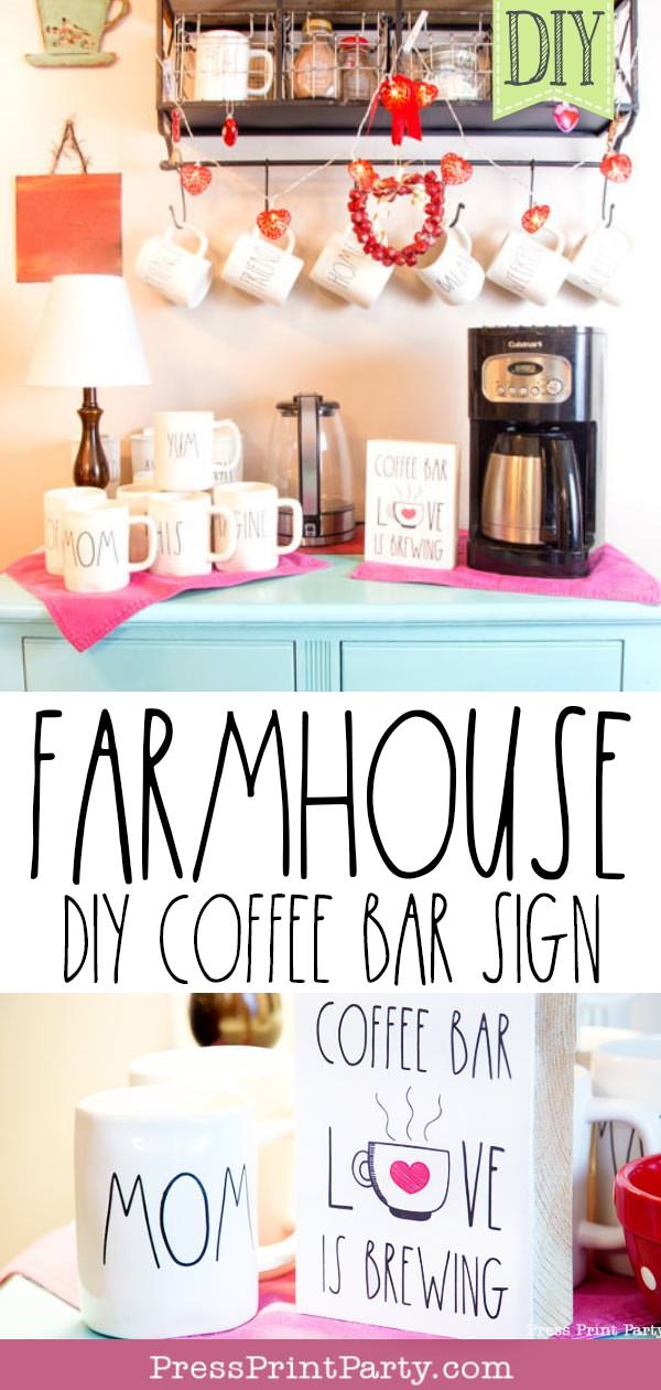 farmhouse diy coffee bar sign Rae Dunn inspired wooden coffee bar with blue dresser and wooden sign and mom mugs - Love is brewing - Press Print Party!