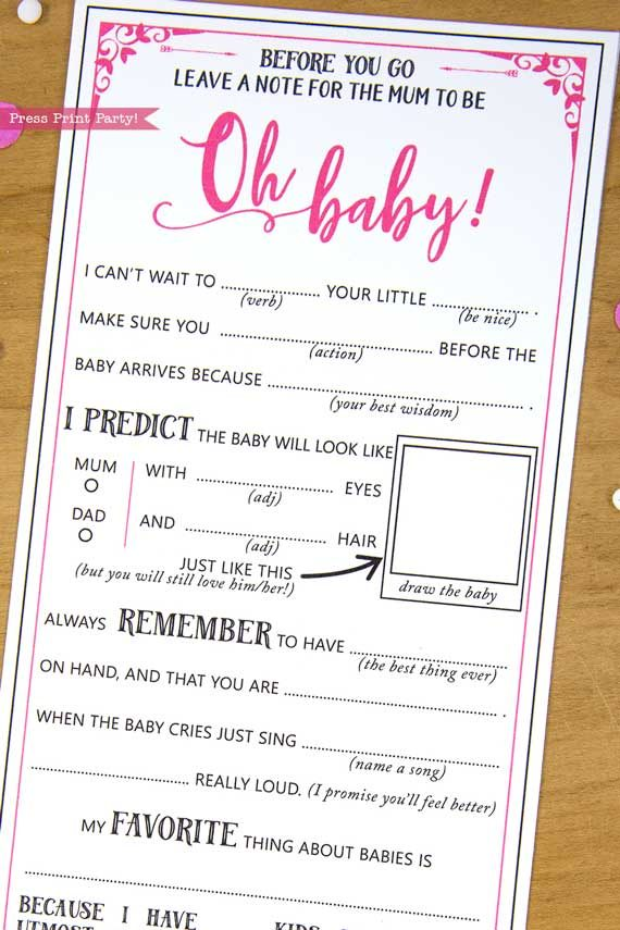 Mum to be Baby Shower MadLibs Advice Card Printable hot pink
