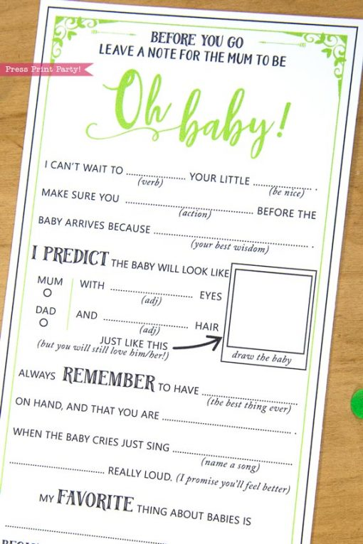 Mum to be Baby Shower MadLibs Advice Card Printable green