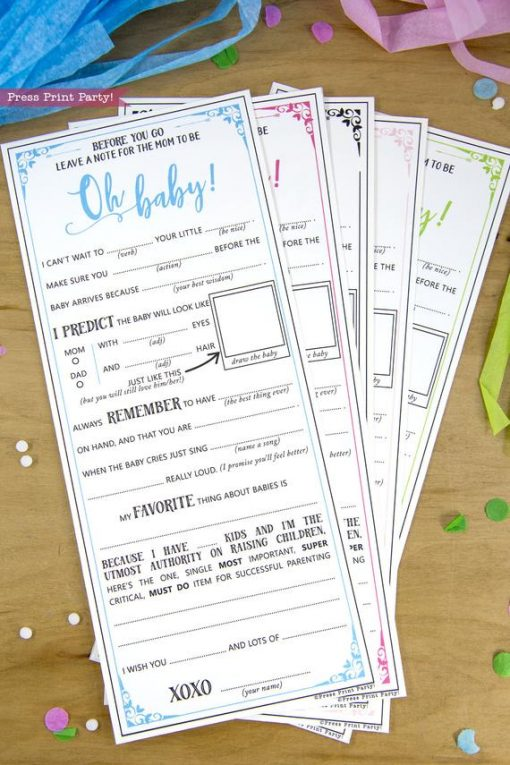 Baby Shower MadLibs Advice Card, Baby Boy
