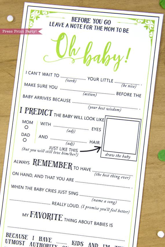 image relating to Baby Shower Mad Libs Printable known as Child Shower Ridiculous Libs Information Card, Gender Impartial Environmentally friendly