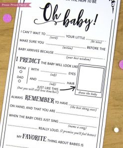 Baby Shower MadLibs Advice Card, Boho Baby Shower