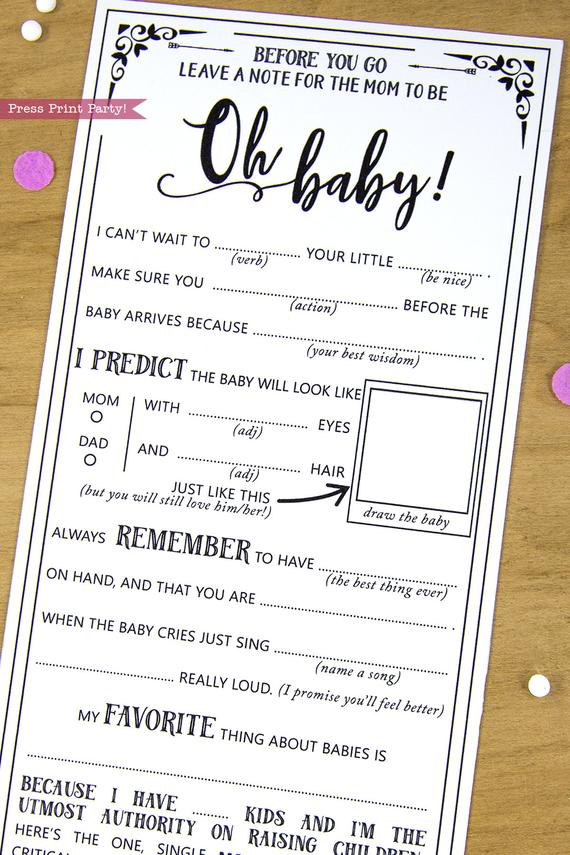 image relating to Baby Shower Mad Libs Printable Free identified as Boy or girl Shower Information Playing cards, Ridiculous Libs, Black