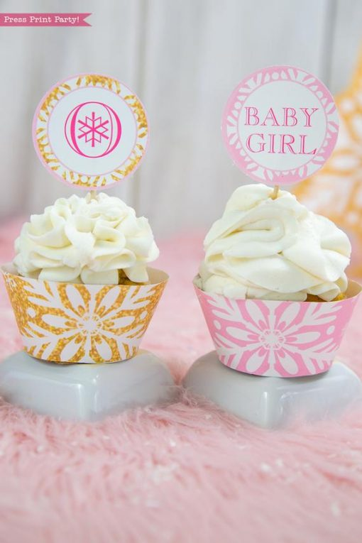 Winter Onederland first birthday party favor box in gold and pink snowflakes cupcake toppers and wrappers- Press Print Party!