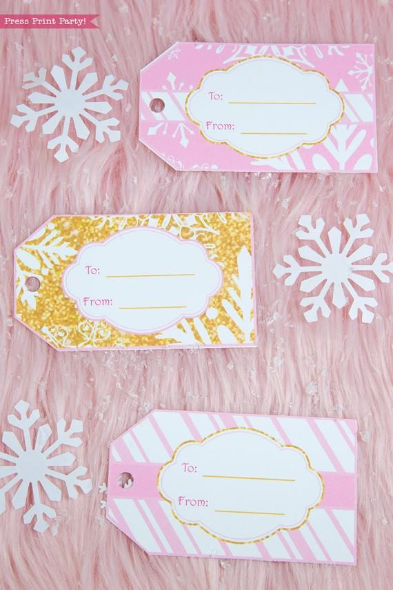 Winter Onederland first birthday party favor box in gold and pink snowflakes favor tags gift tags - Press Print Party!