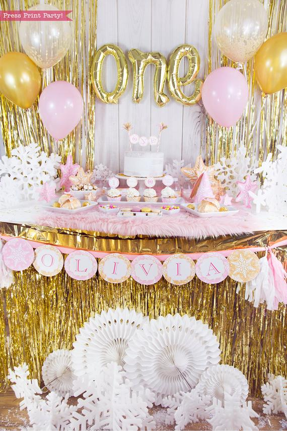 Winter Onederland first birthday party favor box in gold and pink snowflakes - Press Print Party!