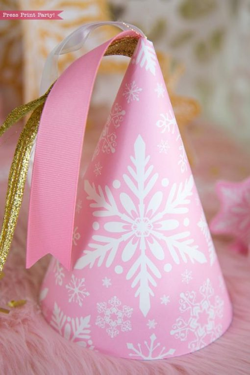 Winter Onederland first birthday party favor box in gold and pink snowflakes birthday hat printable - Press Print Party!