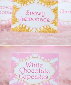 Winter Onederland first birthday party favor box in gold and pink snowflakes place cards, tent cards - Press Print Party!