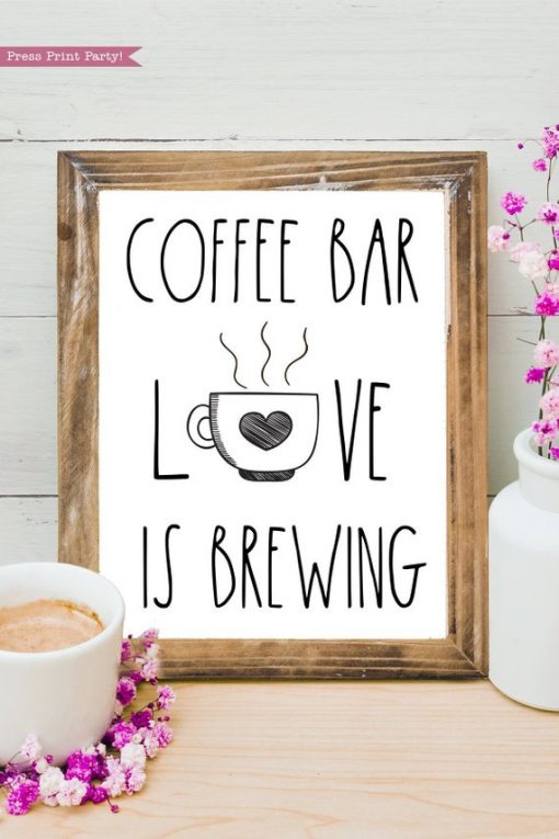 Coffee bar, Love is brewing Rae Dunn inspired coffee bar sign, for coffee station - Press Print Party!