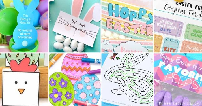 Easter free printable featured picture with coloring pages, treat bag toppers etc