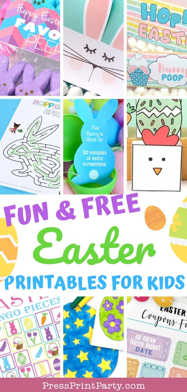 Easter free printables, with coloring pages, treat bag toppers, games for kids, Easter egg coupons, Press Print Party!