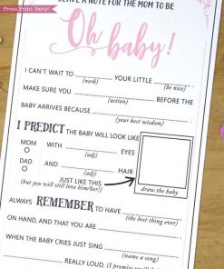 Girl Baby Shower Game Mad Libs Advice Card, Mom to be Printable