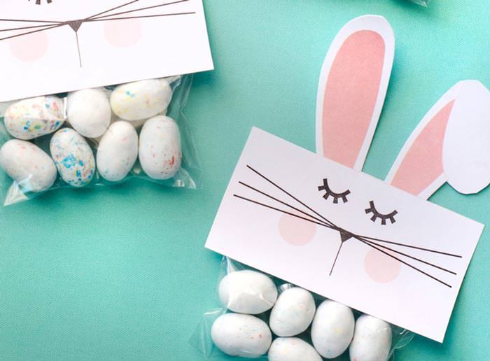 Free bunny Easter treat bag topper printables
