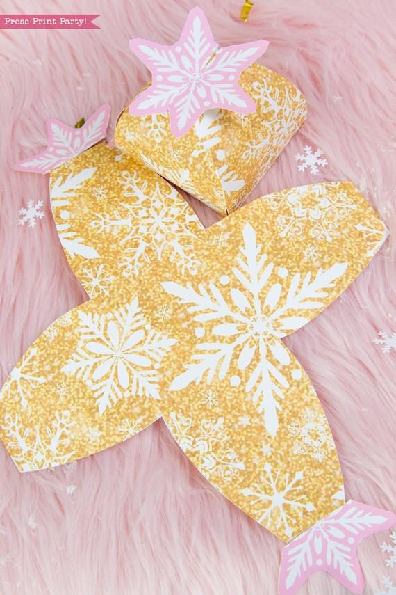 Winter Onederland first birthday party favor box in gold and pink snowflakes favor box - Press Print Party!