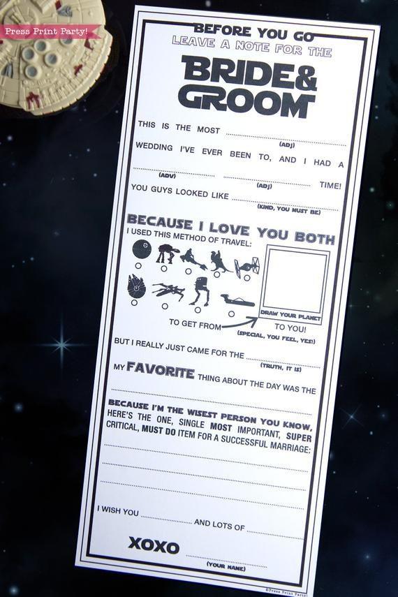 Star Wars Wedding Mad Libs Printables, Marriage Advice Cards
