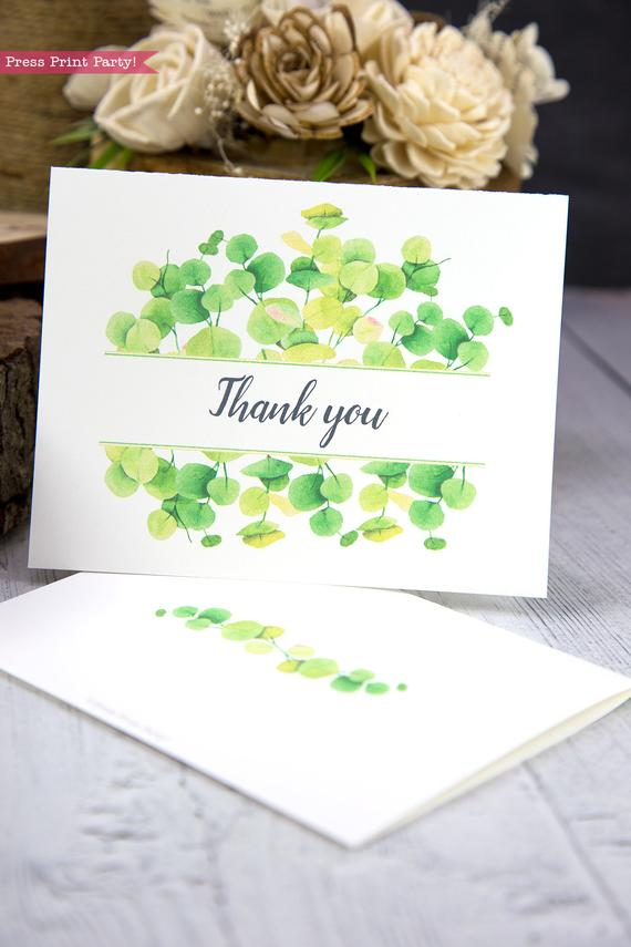 Thank you card templates printable with watercolor eucalyptus and editable with your own text. w. printable envelope - Press Print Party!
