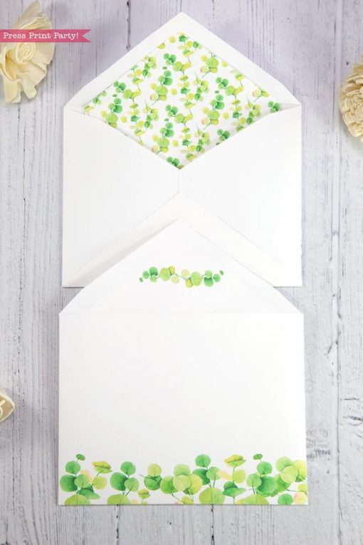 Thank you card envelope template printable watercolor eucalyptus with insert- Press Print Party!