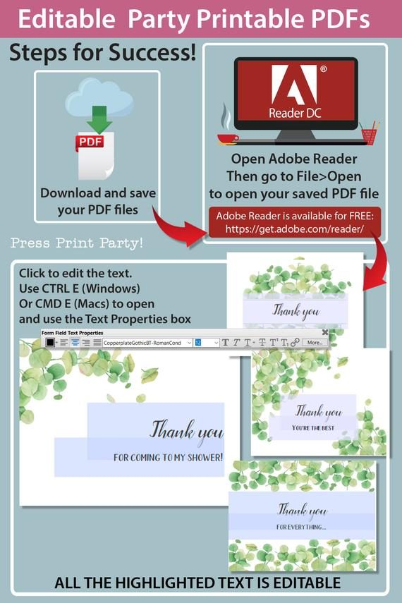 Instructions for Thank you card templates printable with watercolor eucalyptus design and editable with your own text. w. printable envelope - Press Print Party!
