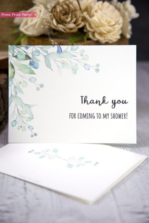 Thank you card templates printable with watercolor greenery and editable with your own text. w. printable envelope - Press Print Party!
