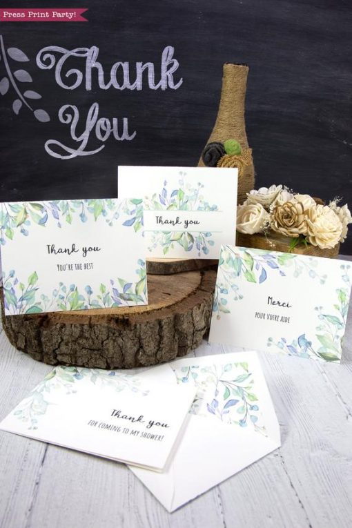 4 Thank you card templates printable with watercolor greemery and editable with your own text. w. printable envelope - Press Print Party!