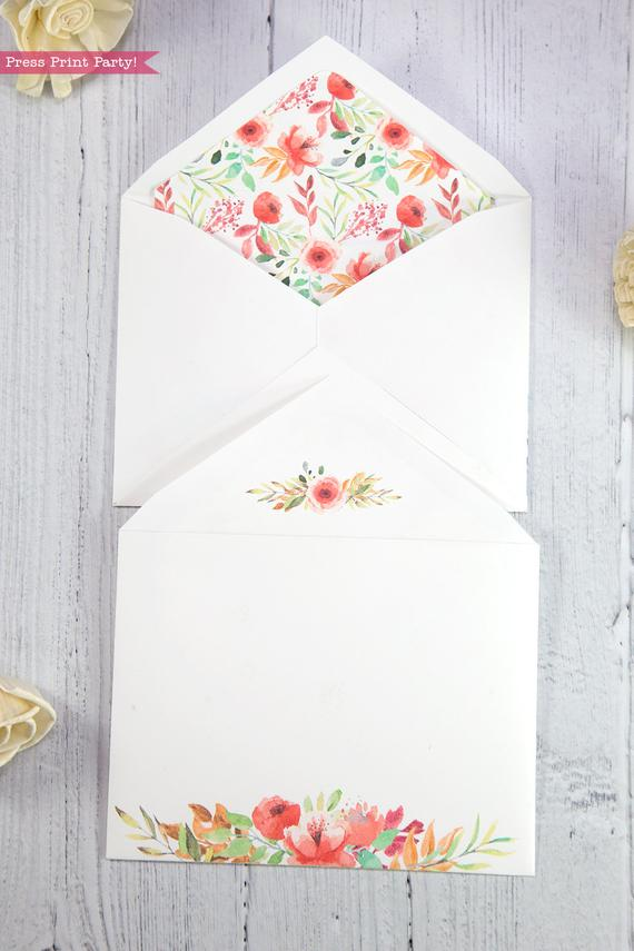 Thank you card envelope template printable peach watercolor flowers with floral insert- Press Print Party!