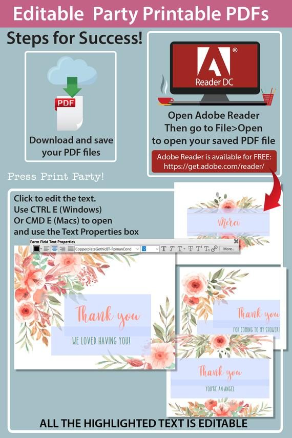 Instructions for Thank you card templates printable with peach watercolor flowers design and editable with your own text. w. printable envelope - Press Print Party!