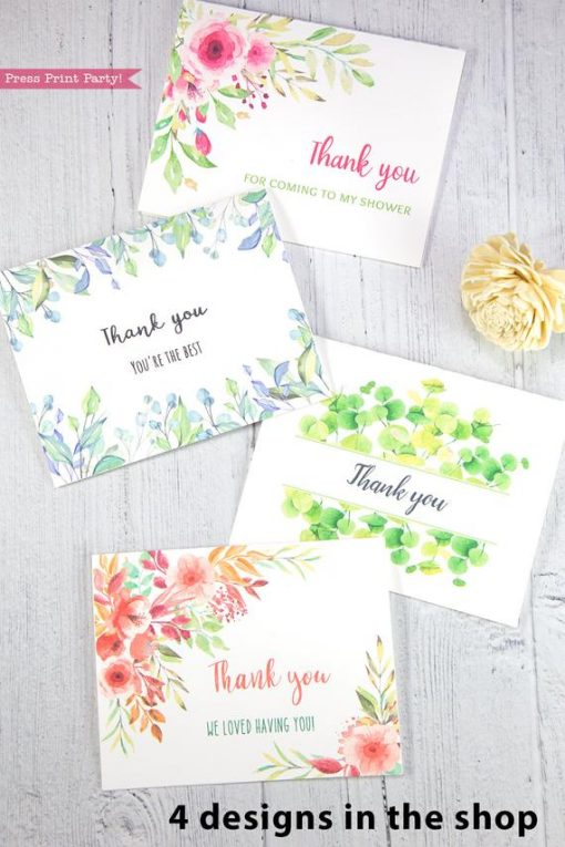 4 Thank you card templates printable with peach watercolor flowers, pink watercolor flowers, eucalyptus design and watercolor greenery and editable with your own text. w. printable envelope - Press Print Party!