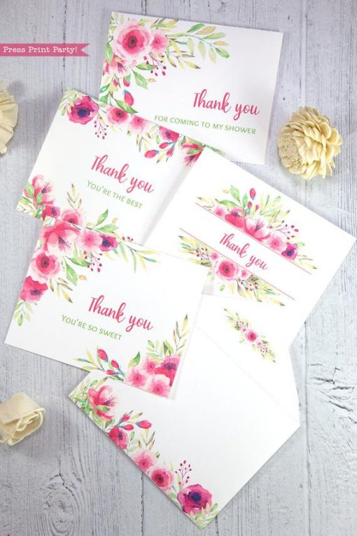 4 Thank you card templates printable with pink watercolor flowers and editable with your own text. w. printable envelope - Press Print Party!