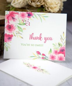 Thank you card templates printable with pink watercolor flowers and editable with your own text. w. printable envelope - Press Print Party!