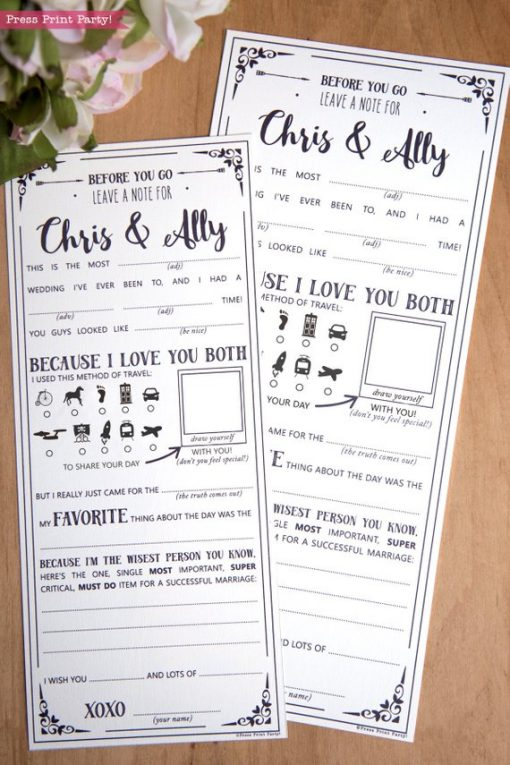 Wedding Mad Libs Printables, Draw Yourself Version