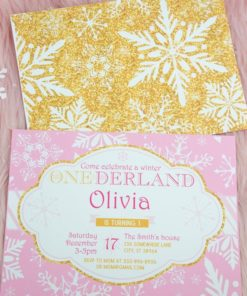 Winter Onederland first birthday party favor box in gold and pink snowflakes invitation- Press Print Party!