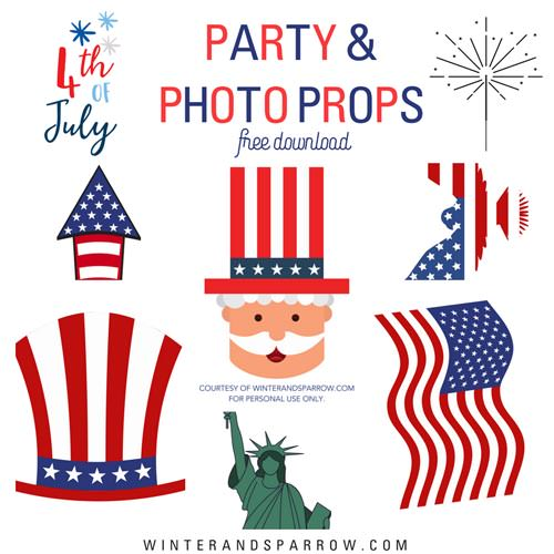 4th of july photobooth props
