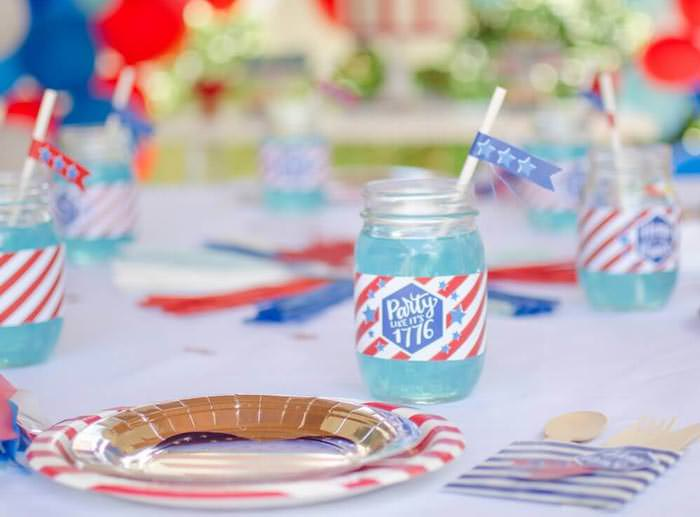 4th of July bottle wrappers printables