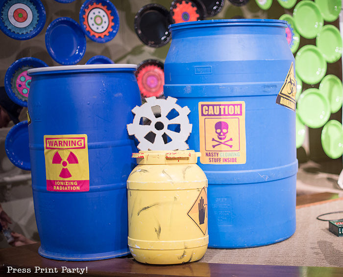 Blue barrel with caution sign -Science party decoration ideas DIY -Press Print Party!