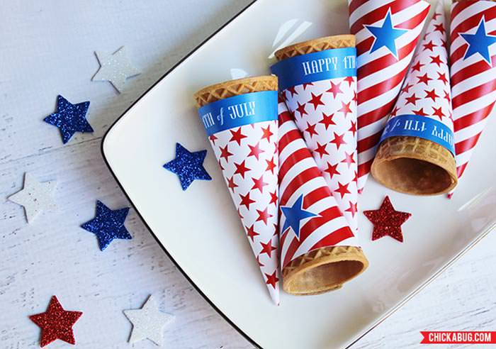 Free ice cream cone wrappers 4th of july