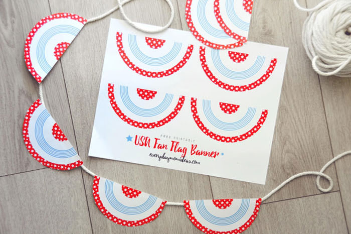 4th of july pennant printable