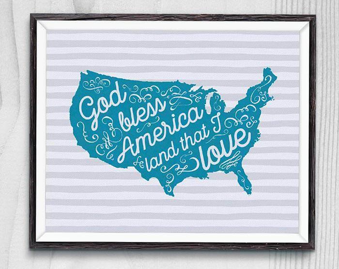 God Bless America free printable sign. teal on white