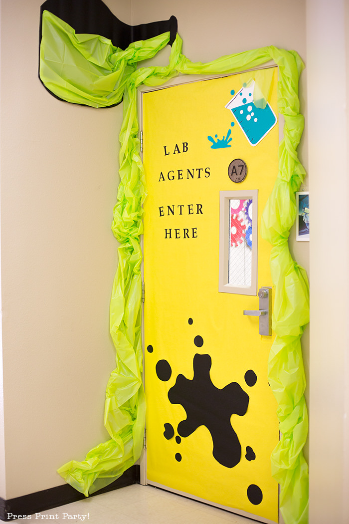 Science Lab entrance w giant beaker -Science party decoration ideas DIY -Press Print Party!