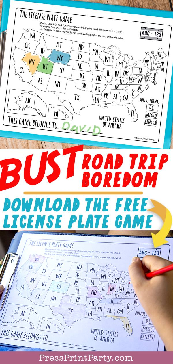 picture regarding License Plate Game Printable identify Free of charge license Plate Activity Printable (Highway Family vacation Online games) - Thrust