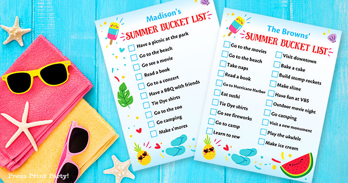 Free Summer Bucket list printable. Summer to do list Press Print Party!