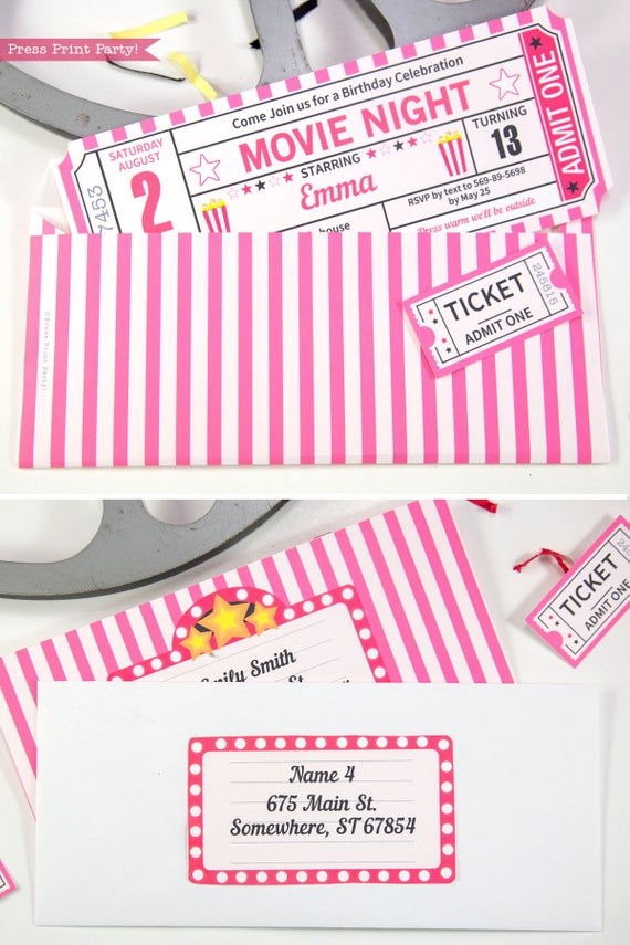 pink movie night invitation ticket stub and envelope- Press Print Party!