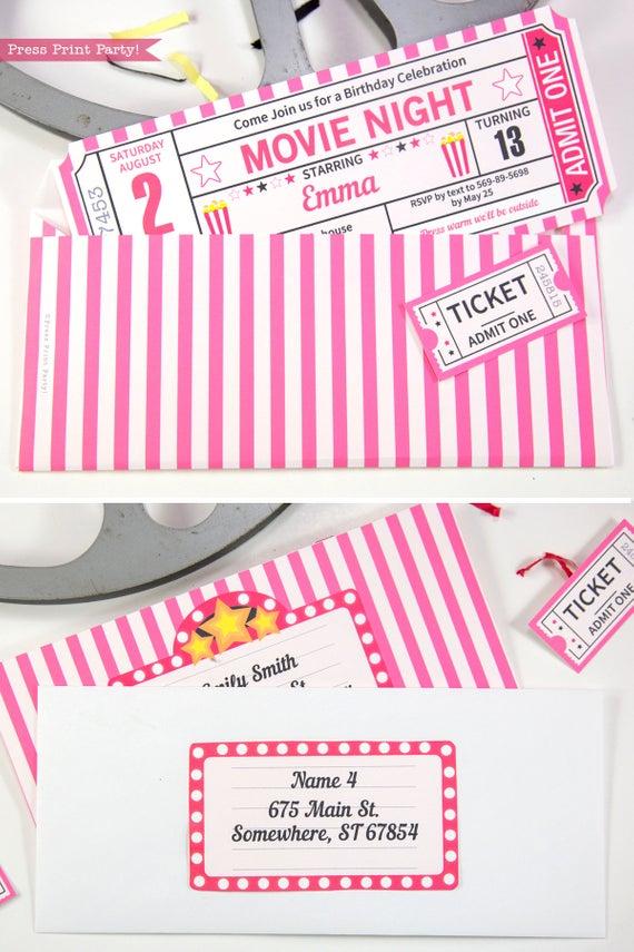 pink movie night invitation ticket stub and envelope- Press Print Party!