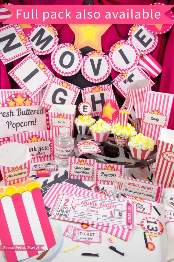 movie night party printables available in full package download