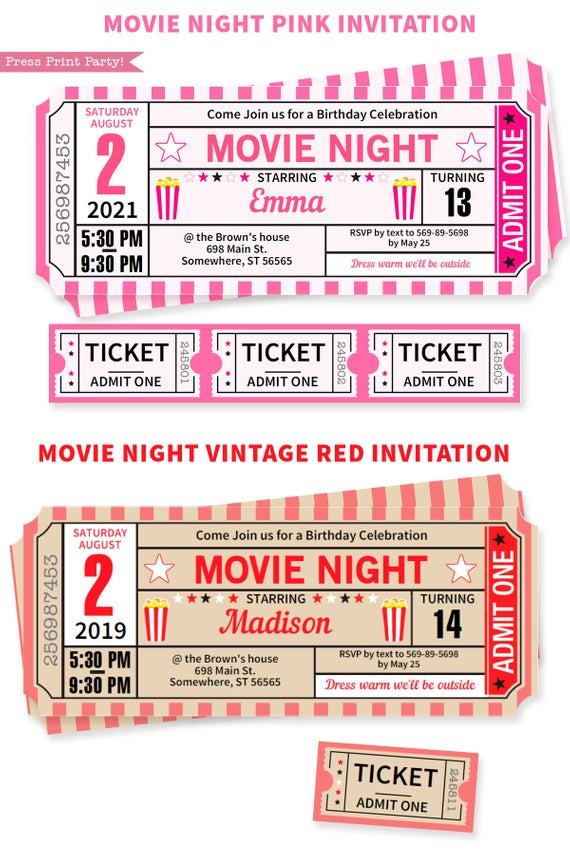 Movie night invitations ticket stub available in Pink and Red