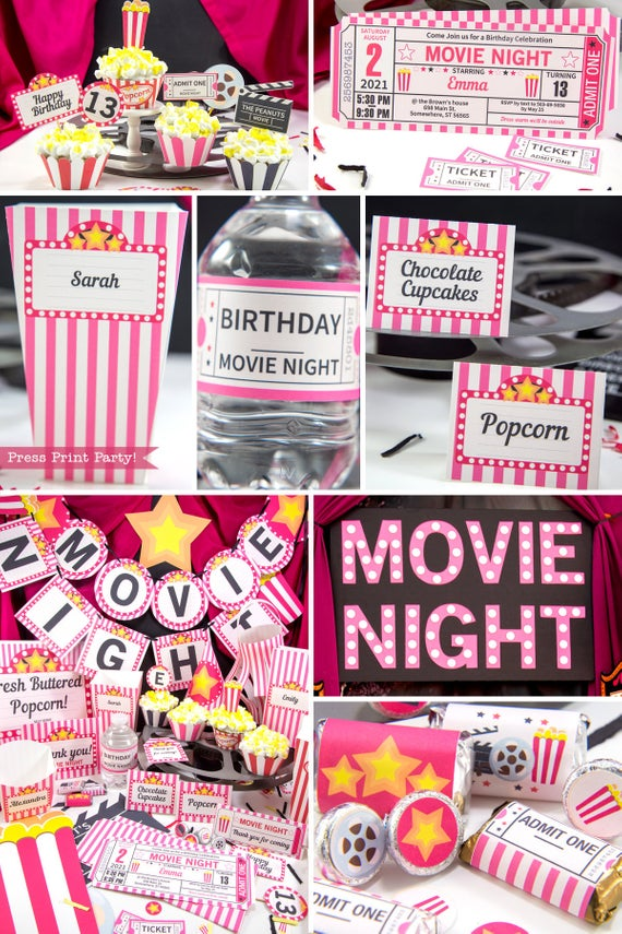 Full set of Movie Night party printables download PINK - Press Print Party!