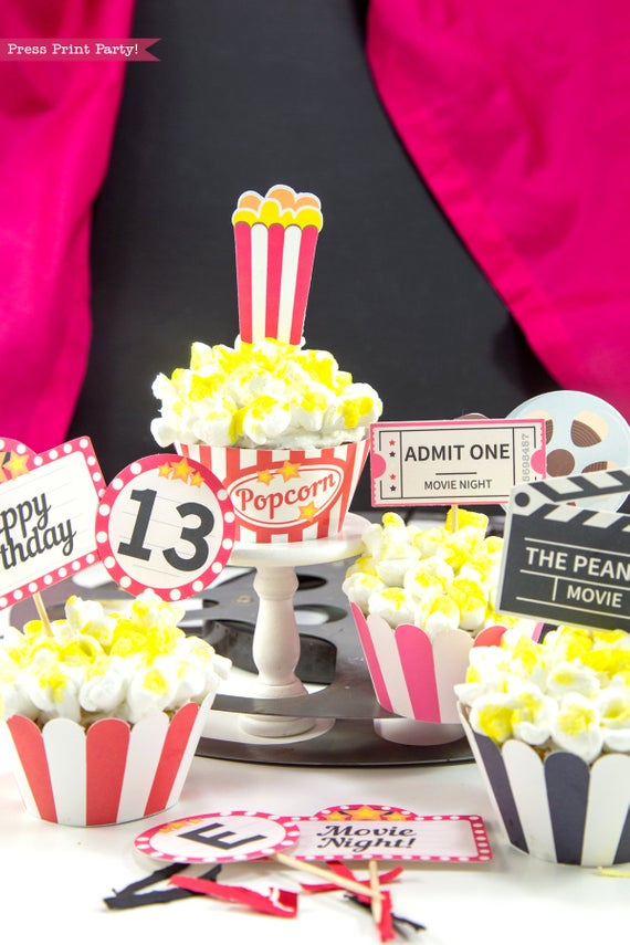 Movie Night party printables cupcake toppers and wrappers.