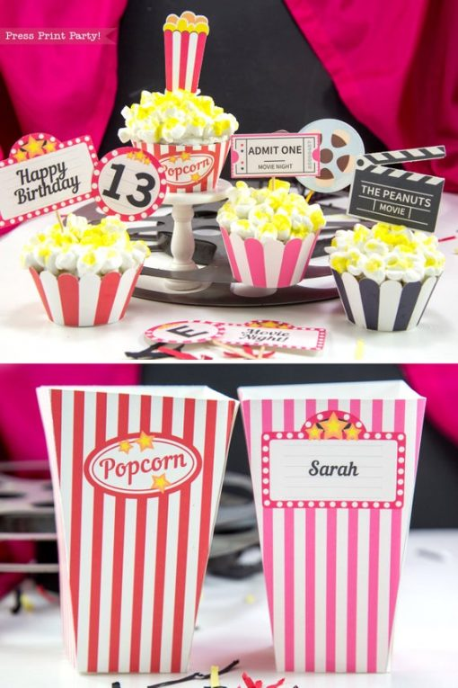 Movie Night party printables cupcake wrappers and popcorn boxes
