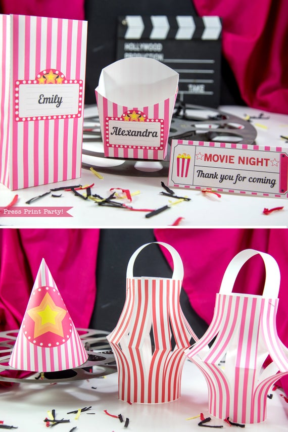 Movie Night party printables favor boxes, hat and lanterns. Press Print Party!